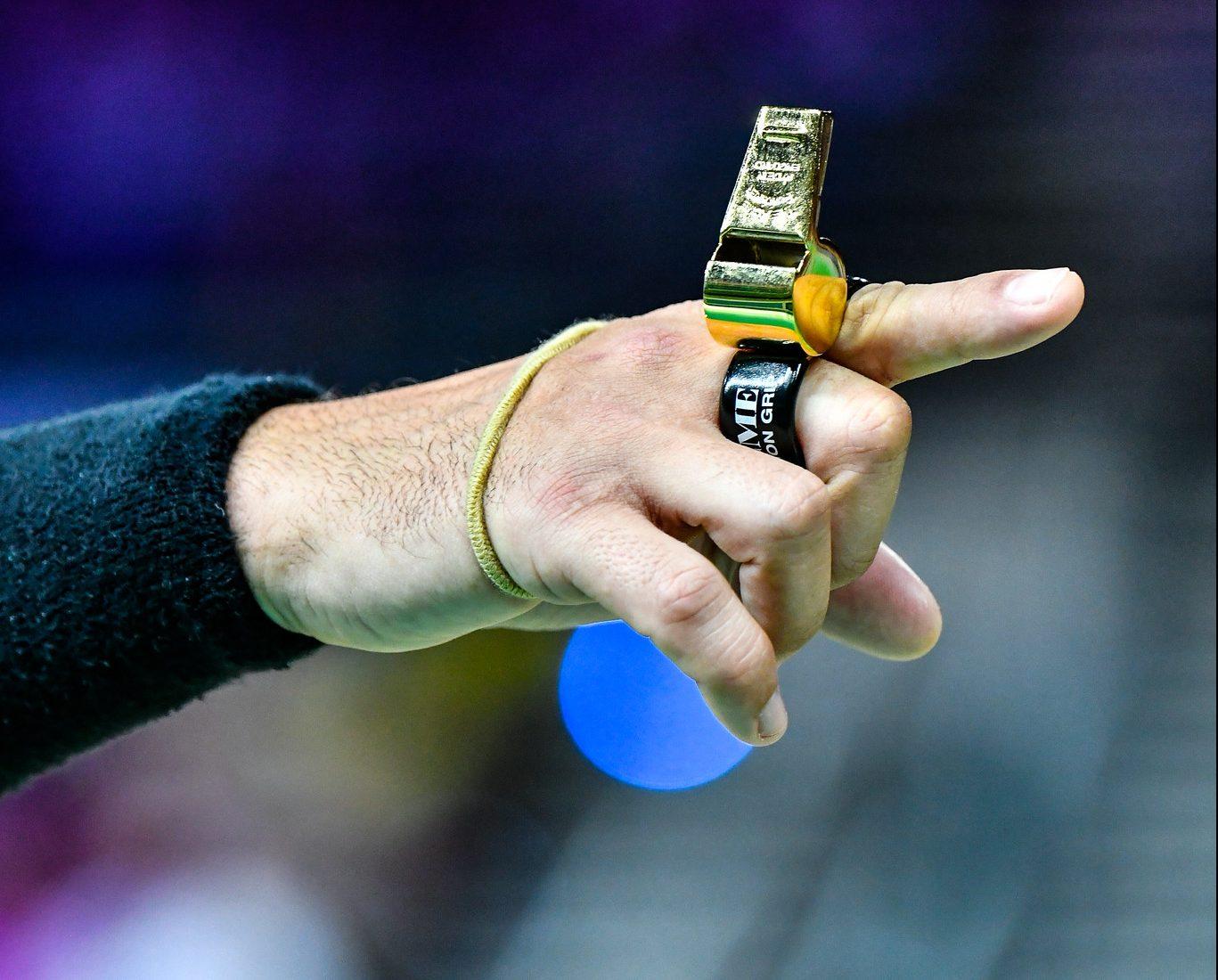 ACME Whistle, gold whistle, Gary's whistle, umpire, netball. Photo: Simon Leonard
