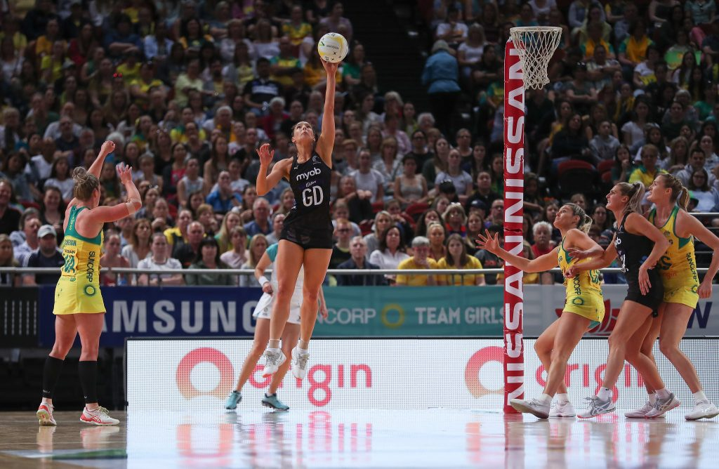 Karin Burger for the Silver Ferns during the 2019 Constellation Cup. Photo: May Bailey