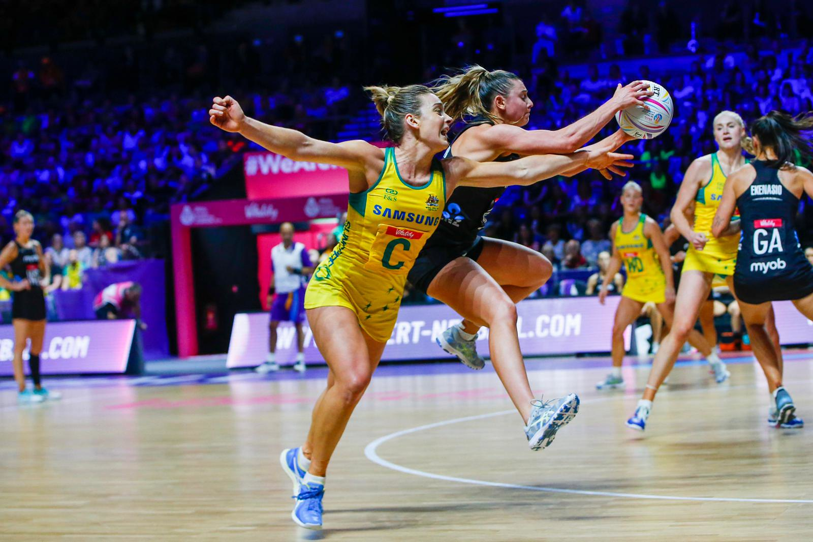 Liz Watson and Gina Crampton, Netball World Cup 2019, Diamonds v Silver Ferns